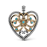 American West Mixed Metal Bold Turquoise Heart Enhancer Pendant
