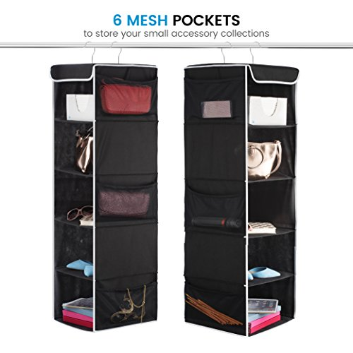 Amazon.com: ZOBER 5 Shelf Hanging Closet Organizer   6 Side Mesh Pockets  Breathable Polypropylene Hanging Shelves   For Clothes Storage And  Accessories, ...