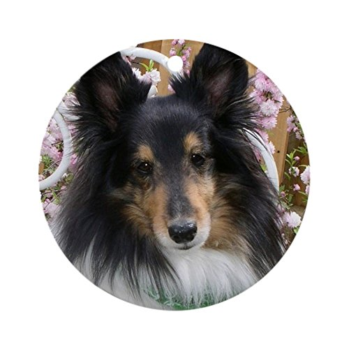 CafePress Tricolor Shetland Sheepdog Round Holiday Christmas Ornament