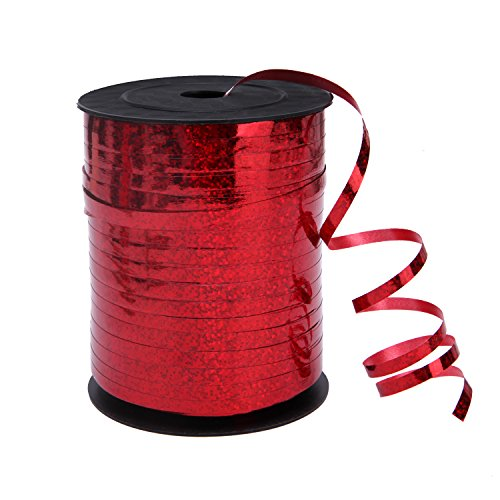 Senkary 500 Yards Red Crimped Curling Ribbons Metallic Balloon Ribbon String for Party, Florist, Flowers, Crafts and Gift Wrapping, 5mm Width