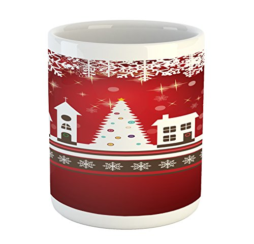 Ambesonne Christmas Mug, Winter Holidays Theme Gingerbread House with Trees and Snowflakes Artwork Print, Printed Ceramic Coffee Mug Water Tea Drinks Cup, Red White