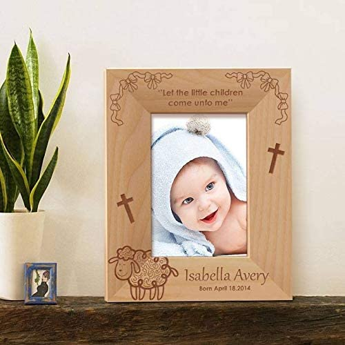 Horizontal Horizontal -Brown Center Gifts Little Children Personalized Wooden Photo Frame-6 x 4