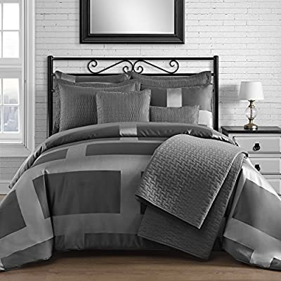 "King & Queen Home Modern Frame Microfiber Lacquer 5 Piece Comforter Set (Full, Grey) - 1 FULL size comforter 86"" x 86"", 2 STANDARD pillow cases 20"" x 26"", 1 throw pillow 12"" x 18"" & 1 throw pillow 18"" x 18"". Jacquard fabric is weaved to express varied brightness and pattern effects Provide all season comfort in contemporary style - comforter-sets, bedroom-sheets-comforters, bedroom - 511gt6J15WL. SS400  -"