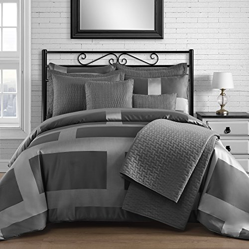 King & Queen Home Modern Frame Microfiber Lacquer 8-piece Comforter and Coverlet Set (King, Gray)