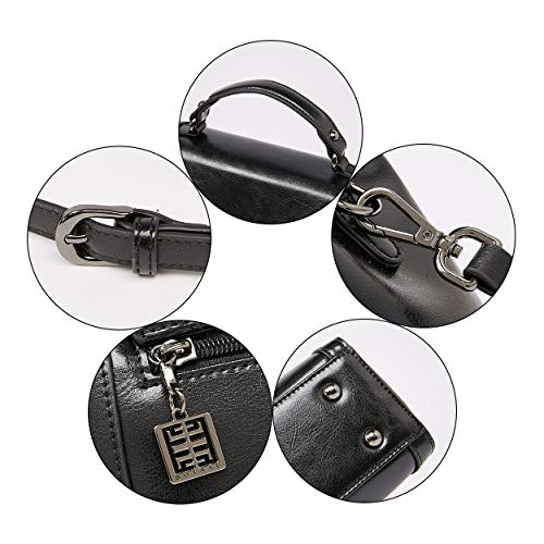 Women Handbags Vintage BOYATU for Handle Leather Ladies Crossbody Top Bag Black RqR0AgCaxw