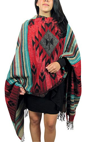 "#5000 Amazing Weave Shawl Wrap Soft Alpaca Throw Scarf Reversible Artisan Peru from ""Handmade"""
