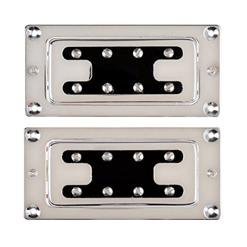 LYWS Chrome Humbucker Bridge Neck Set Pickups for Rickenbacker Bass Guitar Parts (Double Neck Bass)