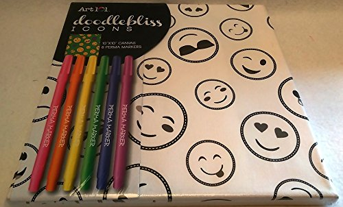 Art 101 Doodlebliss Icon Emoji Emojicon Grin Coloring Kit Canvas and Markers Set Cool Cat