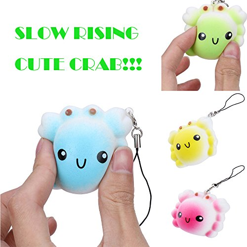 PLENTOP 2PC Random Crab Slow Rising Collection Squeeze Stress Reliever Toy