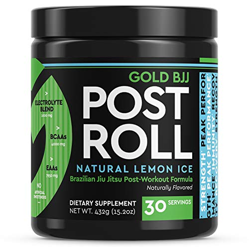 Gold BJJ PostRoll – Jiu Jitsu Post Workout Supplement with EAA & BCAA Essential Amino Acids – Martial Arts Specific Post-Workout Powder (Lemon Ice, 30 Servings)