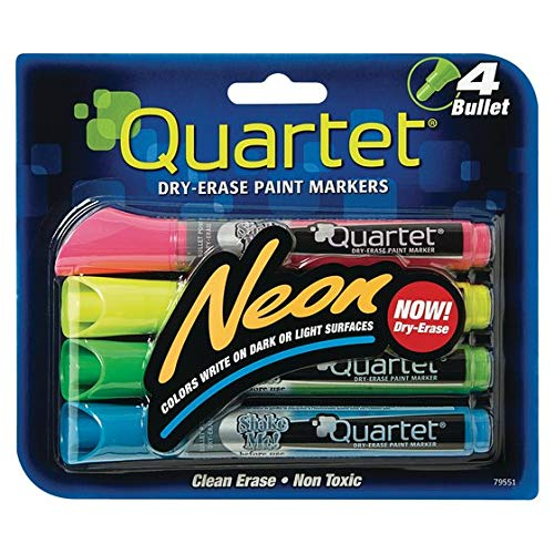 Quartet Glo-write Neon Dry-Erase Markers, Bullet Tip, Assorted Colors (Dry Erase Neon Board)