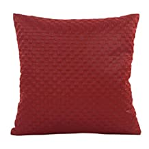 Pillow Case,Woaills Solid Square Waist Throw Cushion Cover 17x17 Pillowcase with Zipper (Red 2)