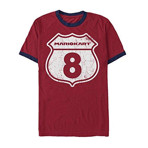 (Nintendo Men's Mario Kart 8 Interstate Sign Red/Navy Blue Ringer T-Shirt)