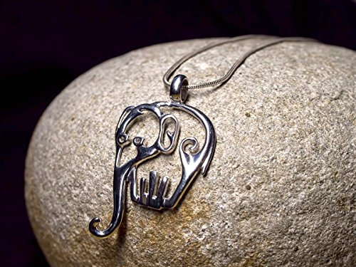 Lucky Elephant Pendant Sterling Silver 925 Indian Elephant Jewelry Totem Animal Gift with (Animal Totems Elephant)