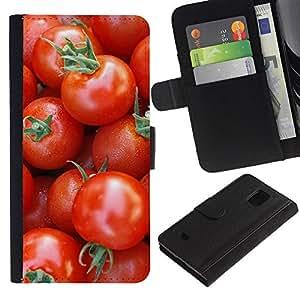 iBinBang / Flip Funda de Cuero Case Cover - Frutas Macro Tomates cereza - Samsung Galaxy S5 Mini, SM-G800, NOT S5 REGULAR!
