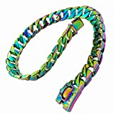 MUJING 32 mm Strong Rainbow Color Tone Stainless Steel Dog Collar Pet Dog Choke Chain Curb Chain Necklace Dog Necklace 40-75 cm(Plating),H