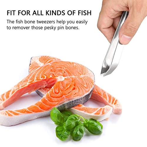 3 Pieces Stainless Steel Food Safe Fish Bone Tweezers Flat and Slant Non-Slip, Precision Grip for Debone Salmon Pliers Remover Tool(4.3''/4.7'') by HLovebuy (Image #5)