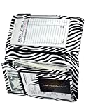 Zreal Server Book for Waitress with Zipper Pocket, 5x9 Zebra Waitress Book, Cute Serving Books Organizer with Magnetic Closure Pocket, Pen Holder for Waiter Server Wallet Fit Waitress Apron (Zebra)