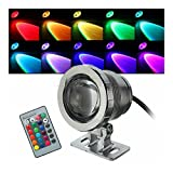 (Silver) 10W RGB LED Light Fountain Pool Pond Spotlight Underwater Waterproof + Remote