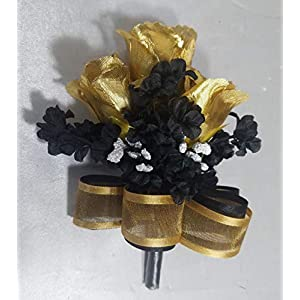 Black Gold Rose Bud Boutonniere Corsage or Boutonniere 116