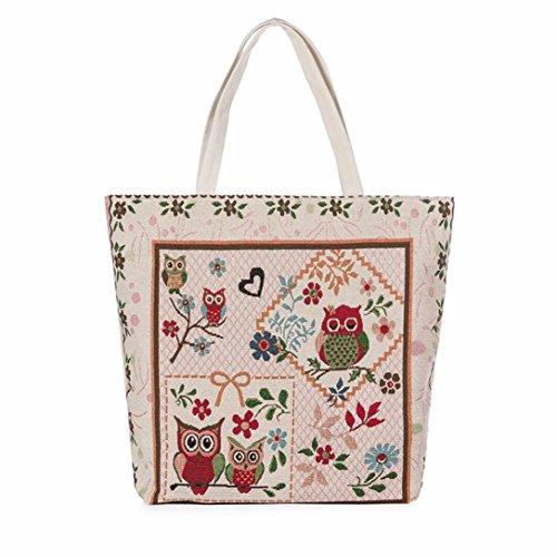 Handbags E Style Shopping TM DEESEE Canvas Printed Women Bag Bags Owl Tote Beach Casual RpAqxPZwO