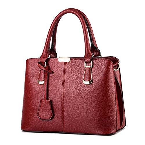 Pahajim women handbags PU leather top handle satchel tote purse shoulder bags (wine red)
