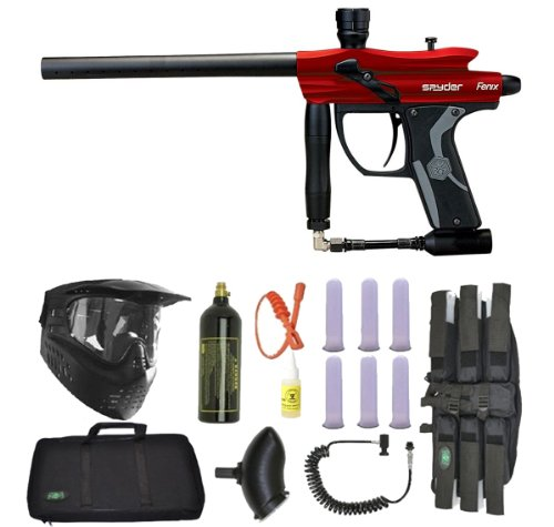 Spyder Fenix Electronic Paintball Marker Gun 3Skull Sniper Set - Hot Red