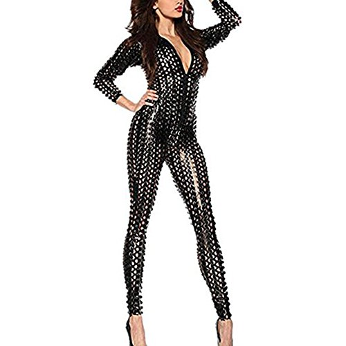 Wonder Pretty Women Jumpsuit Catsuit Black Romper Metallic Bodysuit Sexy Clubwear Stripper Leather Lingerie, Black, Medium