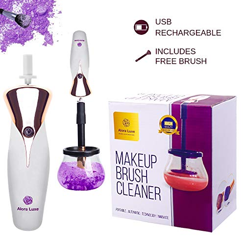 Makeup Brush Cleaner Washer and Dryer by Alora Luxe - 2019 Electric Automated Spinner Cleaning Machine - USB Rechargeable with Sophisticated Design: Bonus Makeup Brush