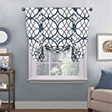 H.VERSAILTEX Thermal Insulated Blackout Adjustable Tie Up Shade Rod Pocket Curtain for Small Window - 42' Wide by 63' Long - Grey and Navy Geo Pattern (1 Panel)