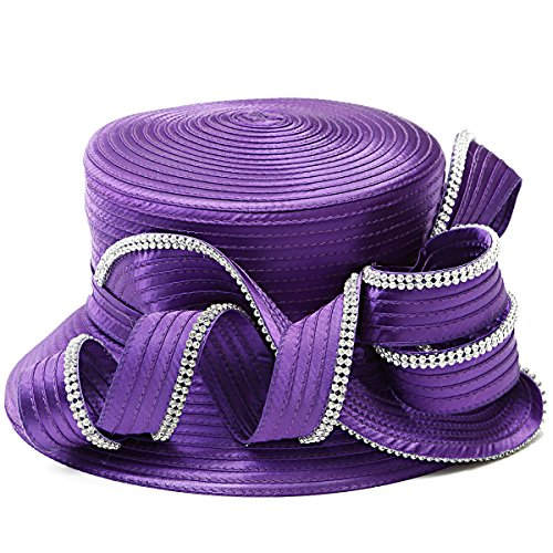 FORBUSITE Rhinestone Satin Braid Church Hats For Ladies (Purple) Purple Satin Hat