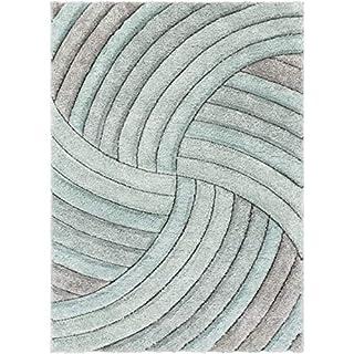 "Well Woven Tilly Light Blue Geometric Stripes Thick Soft Plush 3D Textured Shag Area Rug 5x7 (5'3"" x 7'3"")"