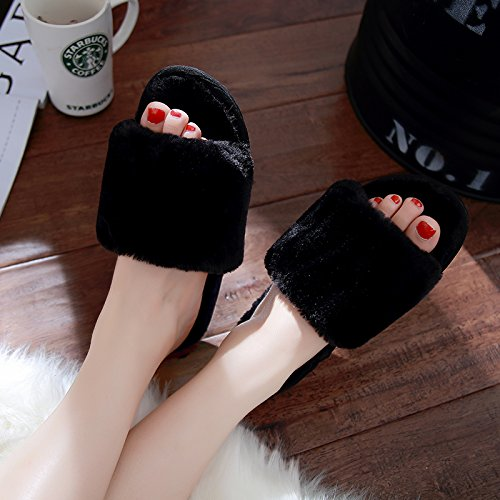 LaxBa Femmes Hommes chauds dhiver Chaussons peluche antiglisse intérieur Cotton-Padded Chaussures Slipper43-44 noir adapté (41-42)