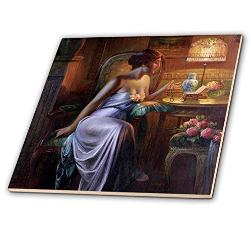 - 3dRose VintageChest – Women - Max Albert Carlier - Lady with Necklace - 8 Inch Glass Tile (ct_303071_7)