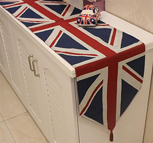 Table Runner, Colorfulife The British Flag Cotton Yarn-dyed Soft Boutique Art Jacquard Design Decoration Mat Table Cloth Cup Mat (1 Table Runner)