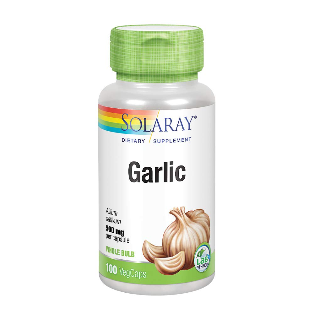 Solaray Garlic Bulb 500 mg | Healthy Immune, Circulatory & Cardiovascular Systems Support | Vegan, Non-GMO | 100 VegCaps