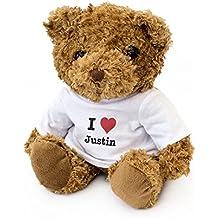 NEW - I LOVE JUSTIN - Teddy Bear - Cute Soft Cuddly - Gift Present Birthday Xmas Valentine