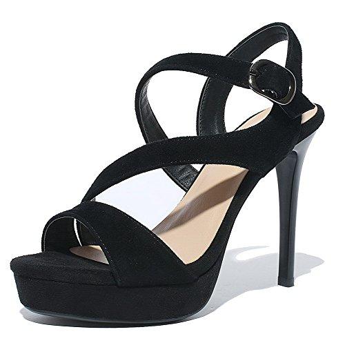 AllhqFashion Womens Buckle Spikes Stilettos Blend Materials Solid Open Toe Sandals Black dGBF5sZAO