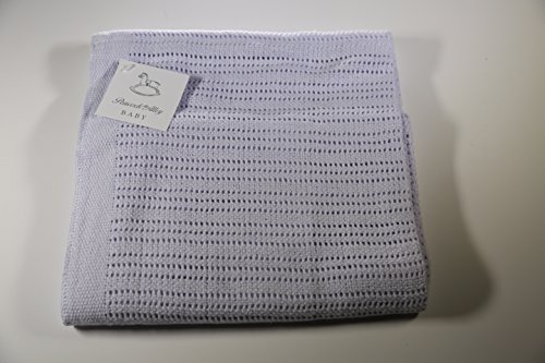 Peacock Alley Crochet Baby Blanket in Lavender with 100% Egyptian Cotton 30