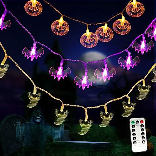 MZD8391 Halloween Lights, Set of 3 Battery Operated 11.5ft Pumpkin Orange Jack O'Lanterns Bat Ghost 30 LED Lights Each for Indoor/Outdoor Halloween Party Decoration, 8 Lighting Modes (Remote