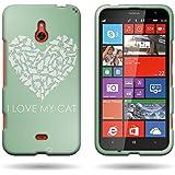 Nokia Lumia 1320 Hard Case, Animal Design (Cat Heart) CoverON® Slim Snap On Protective Phone Cover for Nokia Lumia...