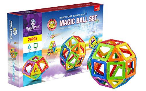 MAGSPACE Magnetic Building Set (26 Pieces) - Magic Ball Set - Best Educational Magnetic Building Blocks for Kids - Magnet Construction STEM Toy Set - Best Gift for Boys and Girls