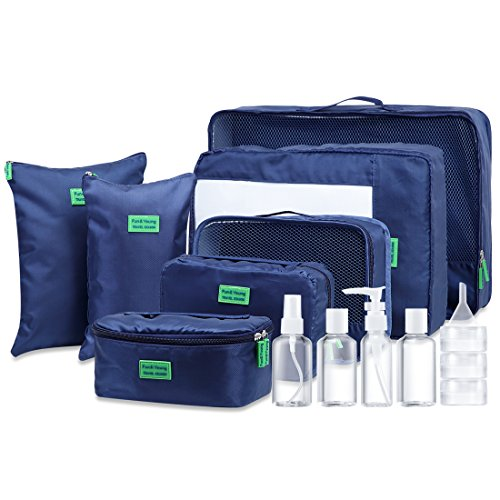 Packing Cubes Value Set for Travel and Home Storage, Moveto 7 Set Premium Waterproof Luggage Packing Organizers with Laundry Bags, Toiletry Bag, Premium SBS Zippers and Upgraded Oxford Fabric Design.