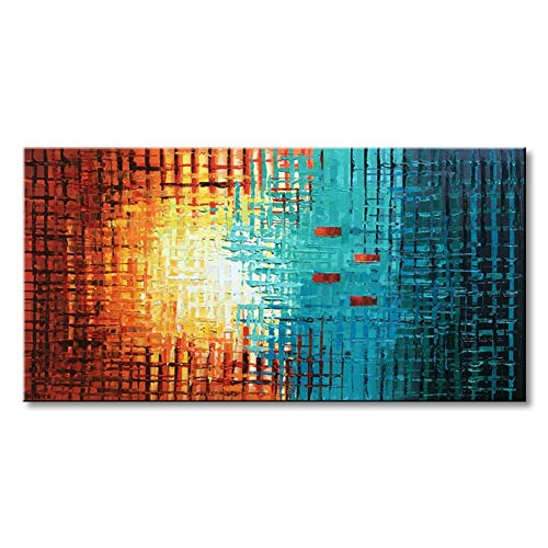 Seekland Art Hand Painted Framed Large Textured Oil Painting Abstract Canvas Wall Art Modern Picture Stretched Contemporary Decor Artwork for Bedroom Living Room Framed Ready to Hang (60