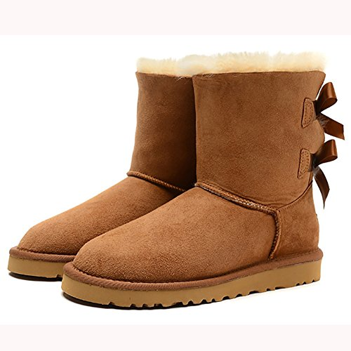 MERUMOTE Boots Non Shoes Chestnut slip Tie Bow Waterproof Snow Leather Winter Womens fxgfwqr