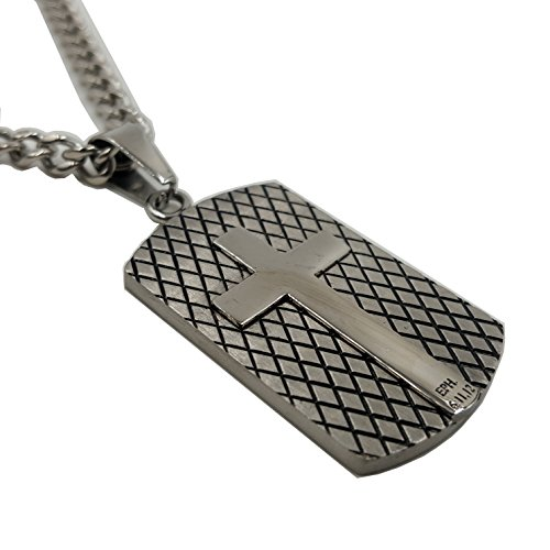 Dog Tag Bible (Armor of God Necklace Dog Tag, Ephesians 6, Stainless Steel with Curb Chain (24
