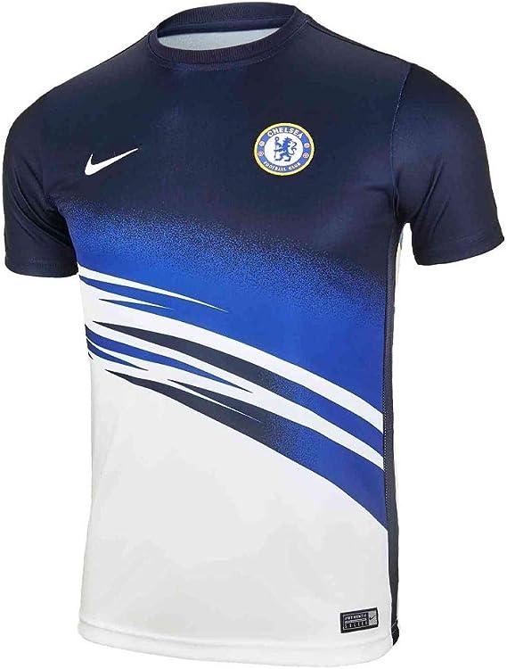 Amazon Com Nike 2019 2020 Chelsea Pre Match Training Football Soccer T Shirt Jersey White Kids Clothing