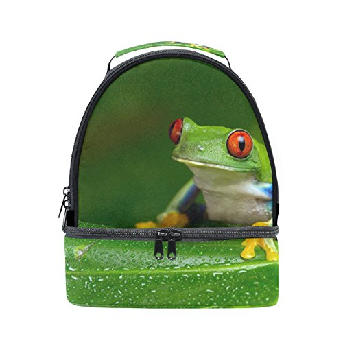 Feeding Tree Frogs - LORVIES Red-Eyed Amazon Tree Frog Lunch Bag Dual Deck Insulated Lunch Cooler Tote Bag Adjustable Strap Handle for Women Men Teens Boys Girls