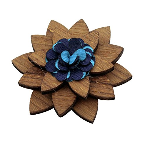 (BAOBAO Men's Wedding Party Suit Corsage Wood Lapel Flower Wooden Brooch Boutonniere Pin)