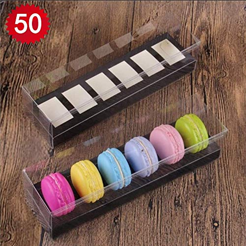 Plastic Clear 4/6/12 Macaron Box With Insert (50, Black 4) from RomanticBaking